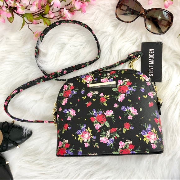 bb1fdc41d6 Steve Madden Bags | Nwt Black Maggie Floral Crossbody | Poshmark
